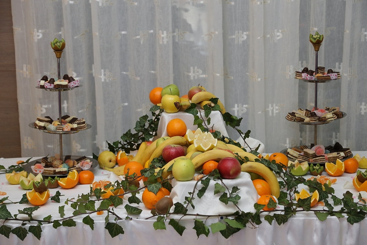 biscuits, buffet, banane, fruits, pommes, lierre, table, alimentaire, citron, biscuit