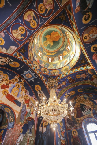 orthodox, church, ceiling, fine arts, chandelier, dome, Christ, christianity, religion, art