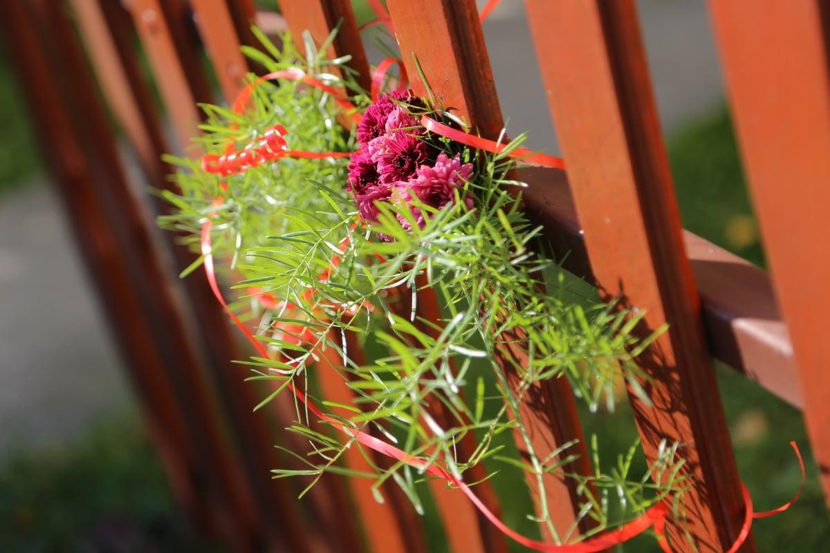 palissade, bouquet, en bois, menuiserie, décoration, à l'extérieur, feuille, fleur, brillant, beau temps