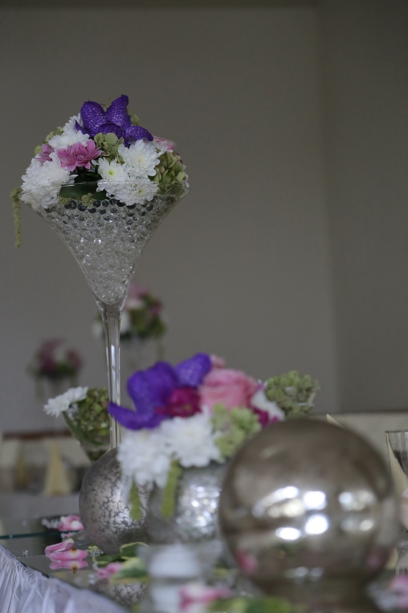 flowers, crystal, vase, interior decoration, orchid, bouquet, glass, flower, wedding, pink