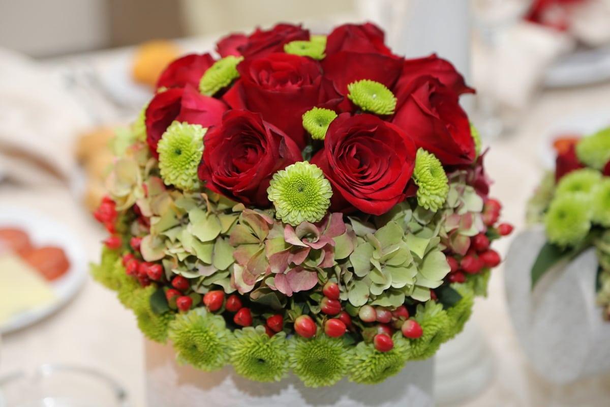 bouquet de mariage, bouquet, des roses, décoration, mariage, arrangement, amour, romance, feuille, Rose