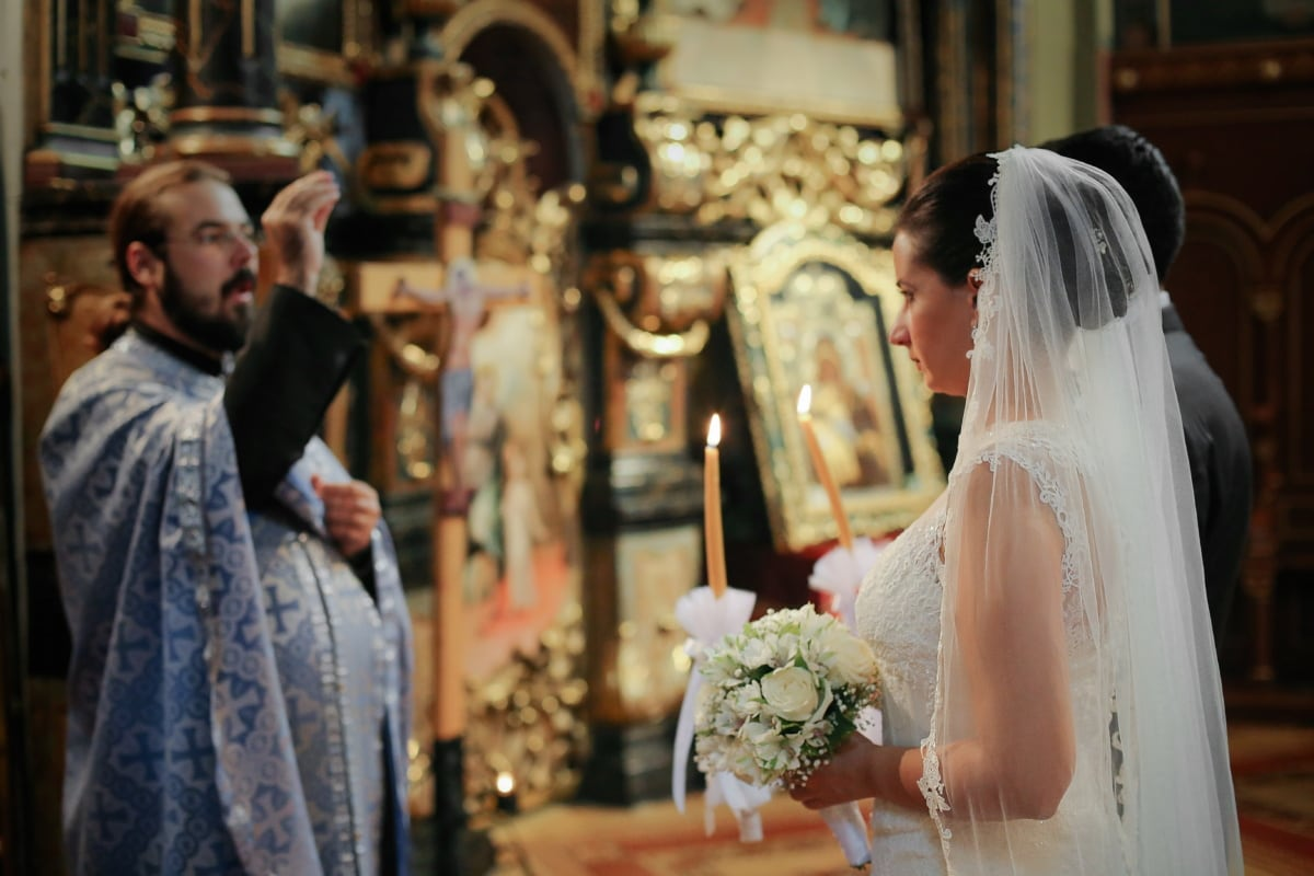 wedding dress, church, wedding, bride, ceremony, priest, religion, boutique, people, veil
