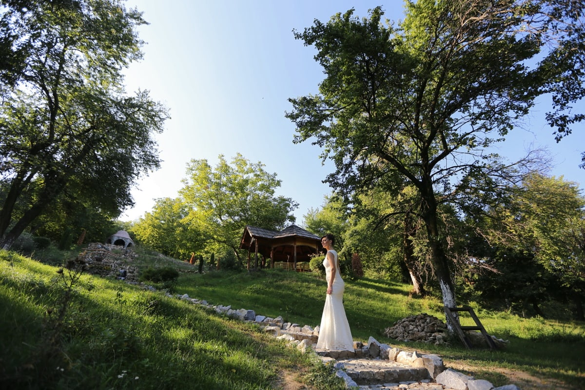 bride, pretty girl, cottage, ecotourism, village, resort area, wedding, park, tree, girl