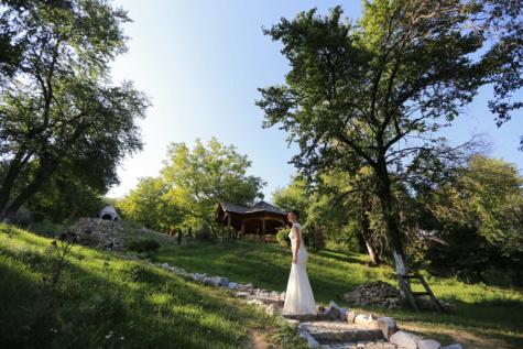 bride, pretty girl, cottage, ecotourism, village, resort area, wedding, park, tree, girl