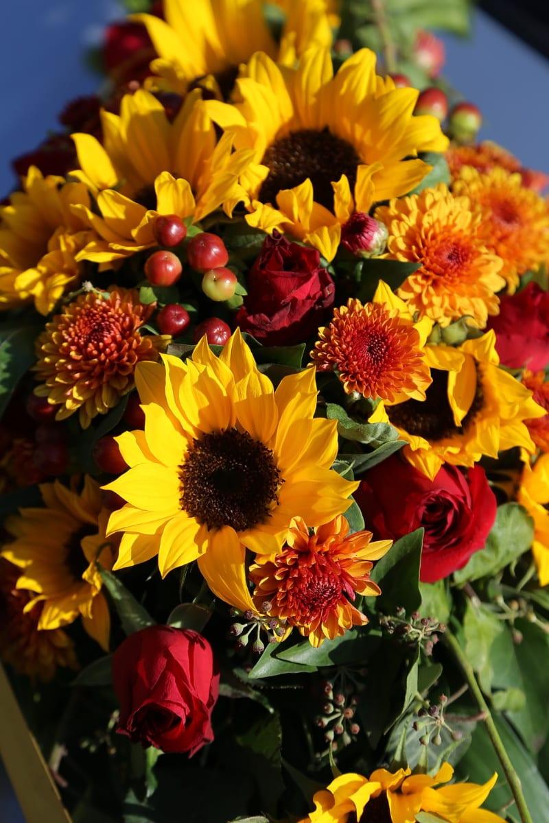 sunflower, bouquet, arrangement, flower, leaf, bright, garden, blooming, season, outdoors