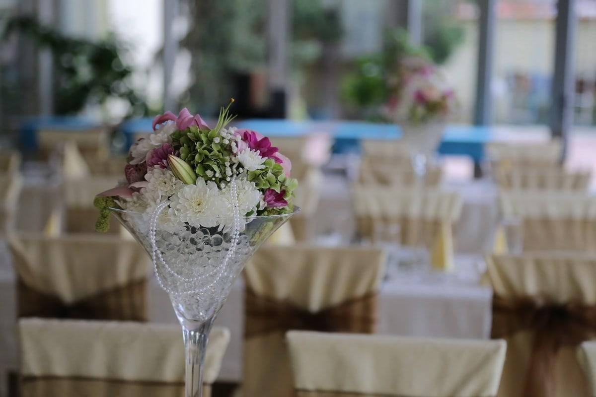salle de mariage, décoration, vase, tables, nappe, vaisselle, réception, mariage, table, à manger