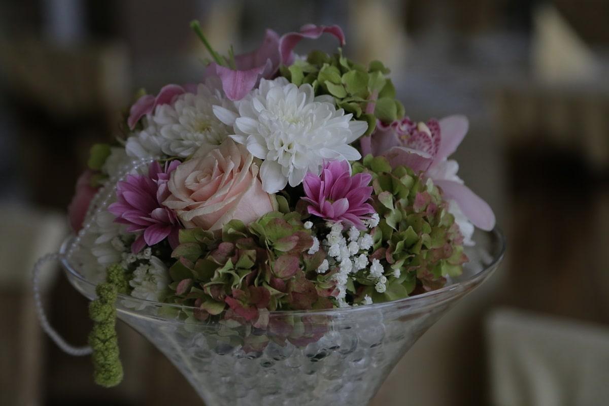 Vase, Kristall, Blumenstrauß, Blumen, dekorative, Dekoration, Anordnung, Blume, Rosa, Blüte