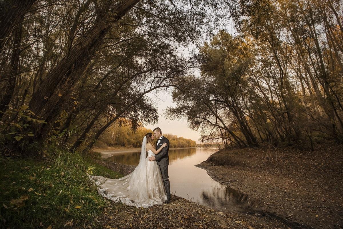 Landschaft, Fotografie, Hochzeit, professionelle, Mädchen, Braut, Kleid, Bräutigam, Struktur, Frau