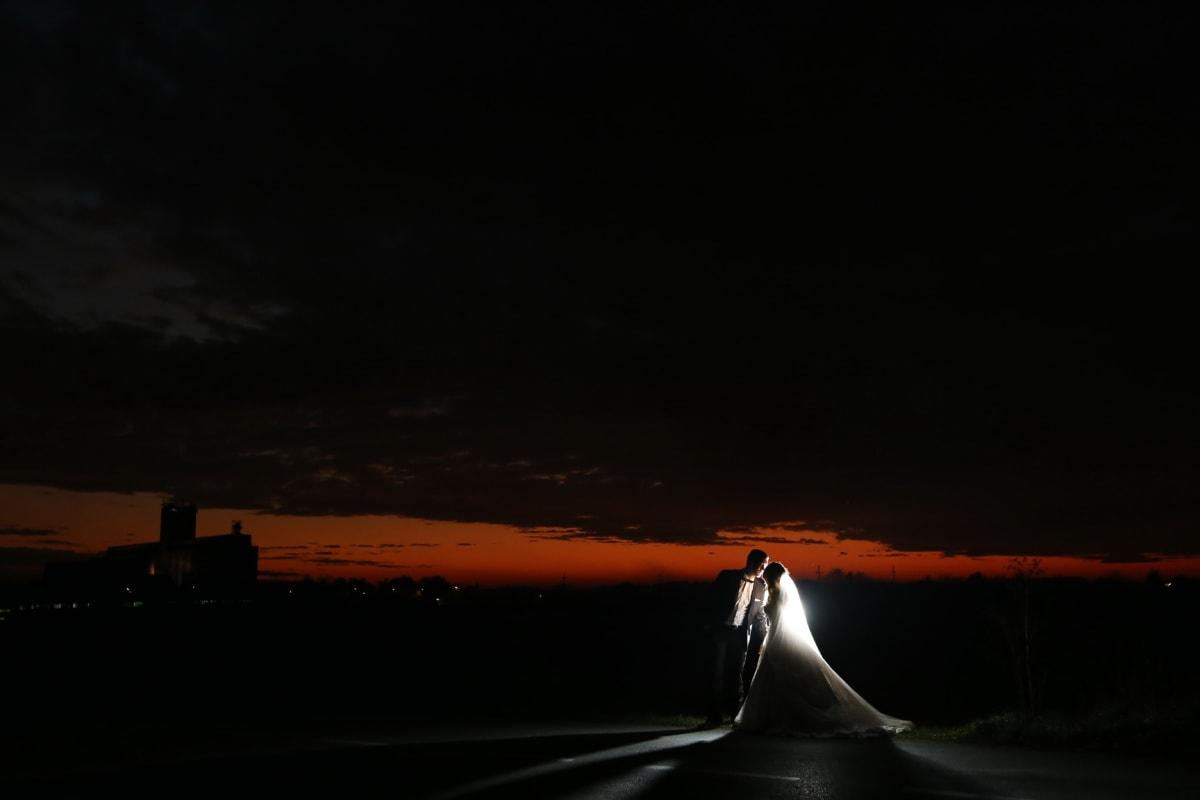 nuit, la mariée, jeune marié, baiser, romantique, Panorama, rétro-éclairé, coucher de soleil, lumière, plage