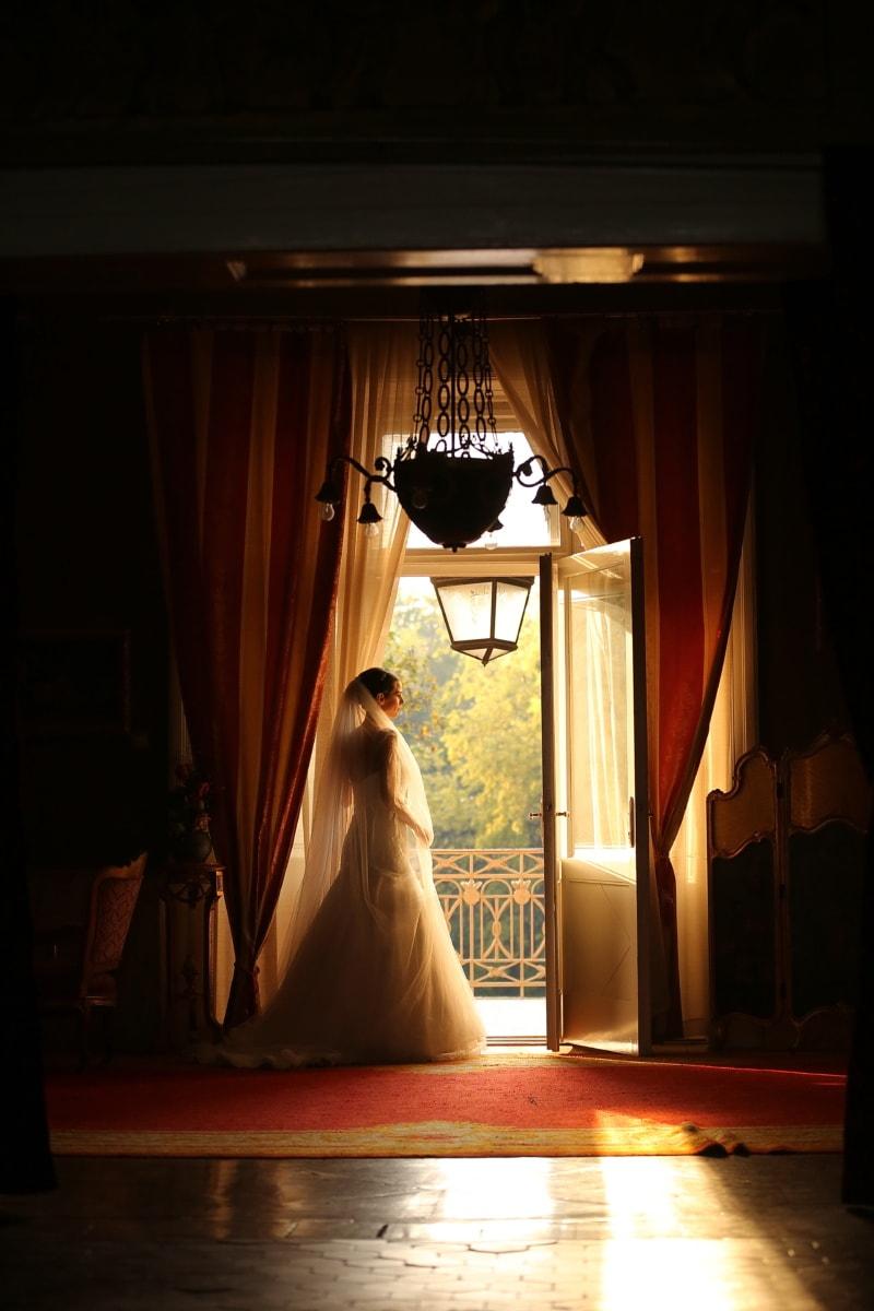 professionnel, photographie, mariage, la mariée, lumière, chambre, rideau, Portrait, jeune fille, fenêtre