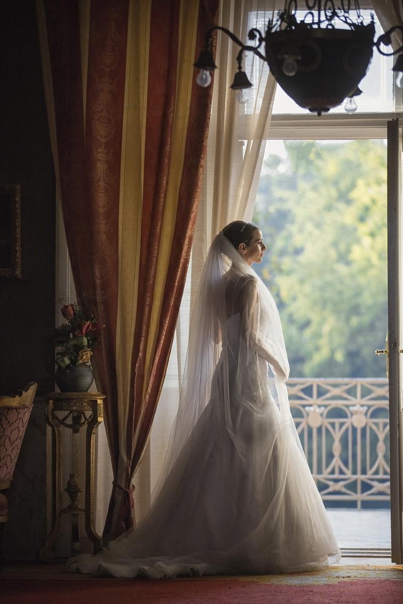 Hochzeitskleid, Braut, Barock, Dekor, Wohnzimmer, posiert, Menschen, Fenster, Hochzeit, Kleid