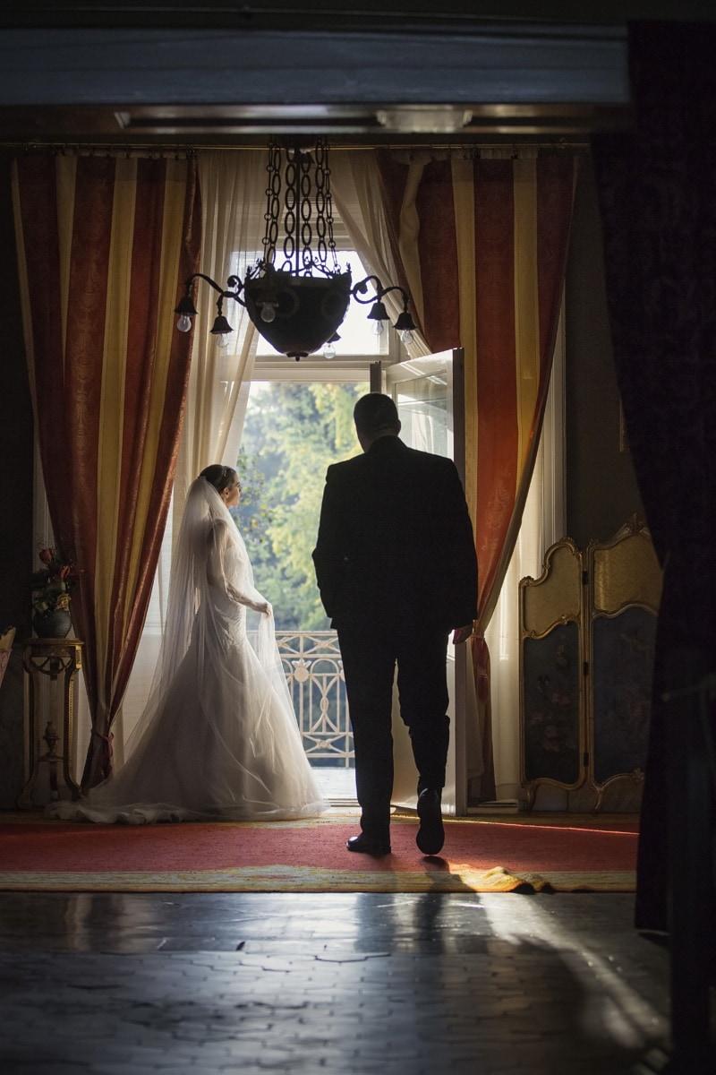 balcon, jeune marié, la mariée, décor, à l'intérieur, robe, magasin, gens, mariage, rideau