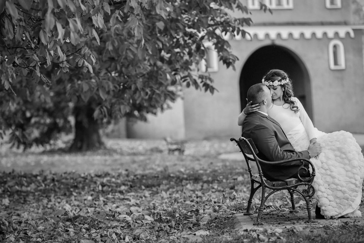 bench, groom, bride, kiss, seat, furniture, people, monochrome, sit, woman