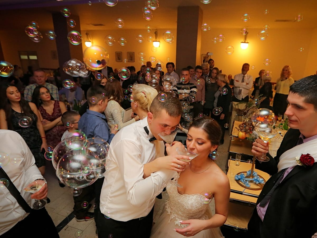 bride, groom, wedding venue, celebration, champagne, wedding, drinking, godfather, couple, man