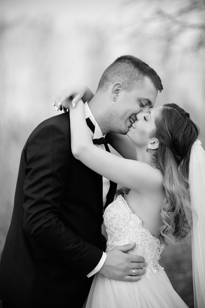 kiss, gentleman, suit, bowtie, happy, gorgeous, portrait, young woman, groom, love