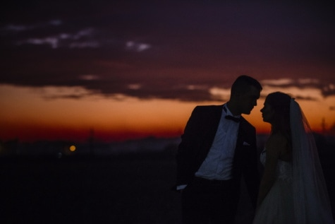sunset, romance, bride, embrace, groom, affection, love, sun, wedding, dawn