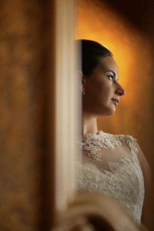 Seitenansicht, Make-up, Kleid, hübsches mädchen, Studio, Mode, Hochzeit, Frau, Braut, verwischen