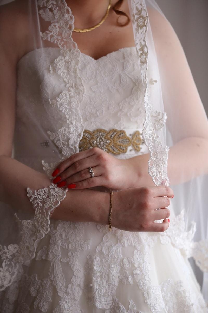 robe de mariée, voile, Collier, la mariée, bague de mariage, jeune marié, femme, mariage, engagement, robe