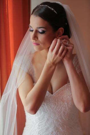 professionele, bruiloft, foto, bruid, sluier, oorbellen, trouwjurk, meisje, vrouw, mode