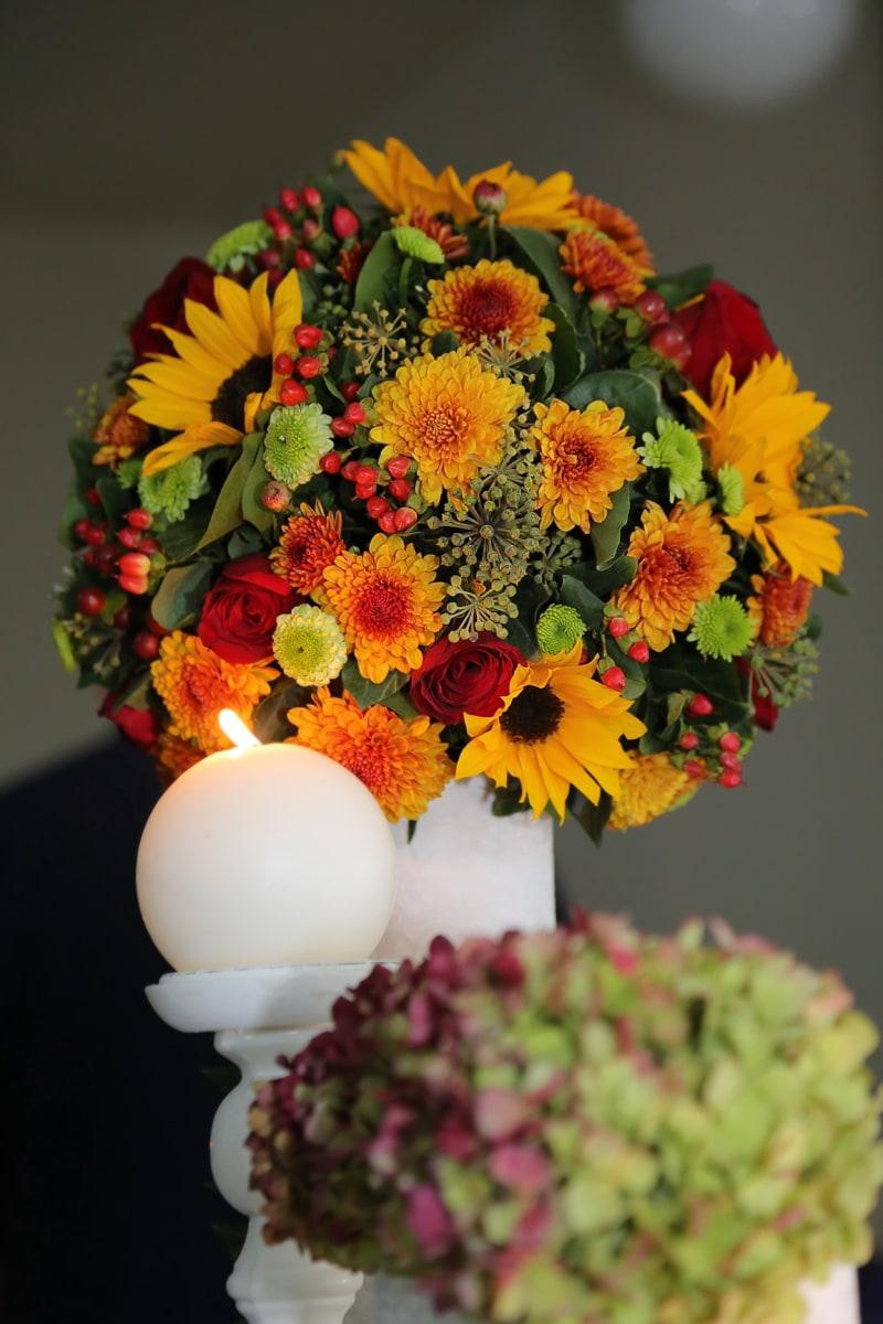 vela, ramo de la, candelero, luz de las velas, flor, color de rosa, hoja, color, florero de, naturaleza muerta