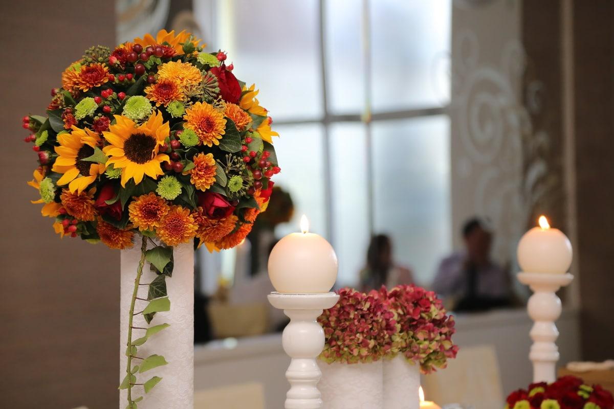 candle, bouquet, candlestick, interior decoration, candles, romance, elegant, flower, nature, vase