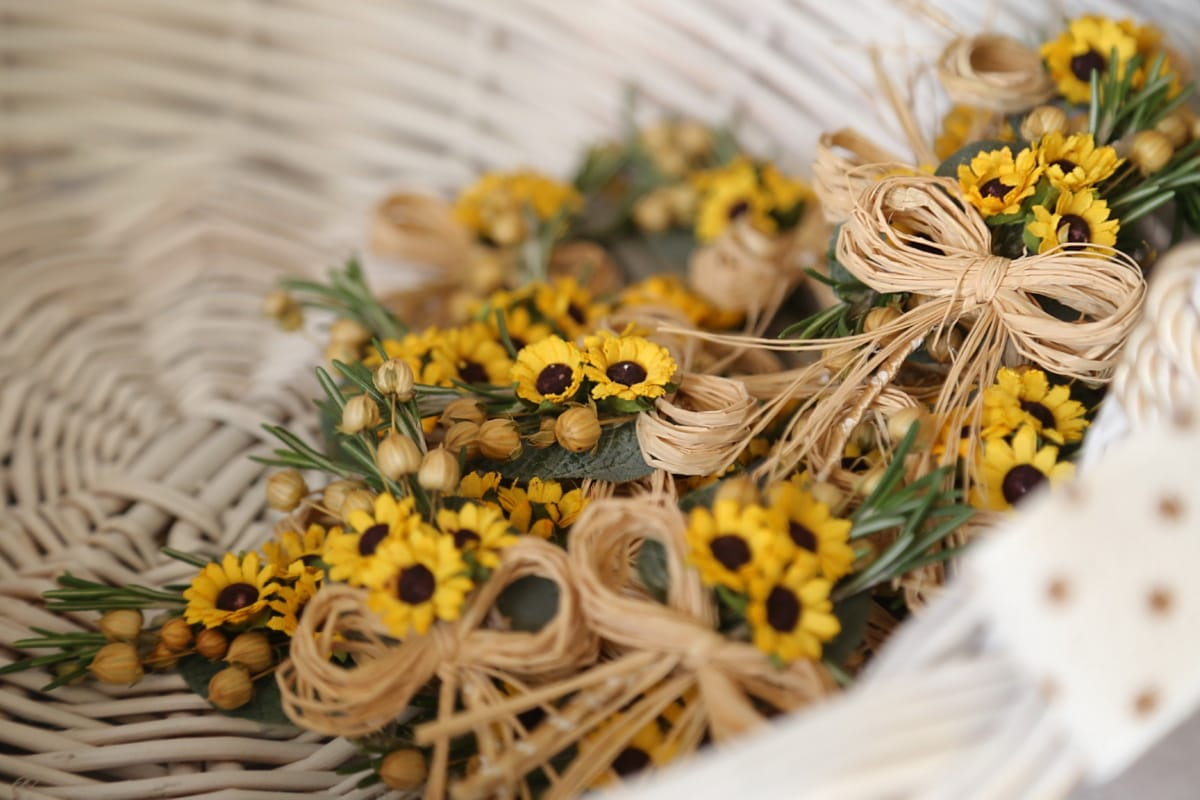 wicker basket, flowers, decorative, vintage, handmade, bright, decoration, traditional, interior design, easter