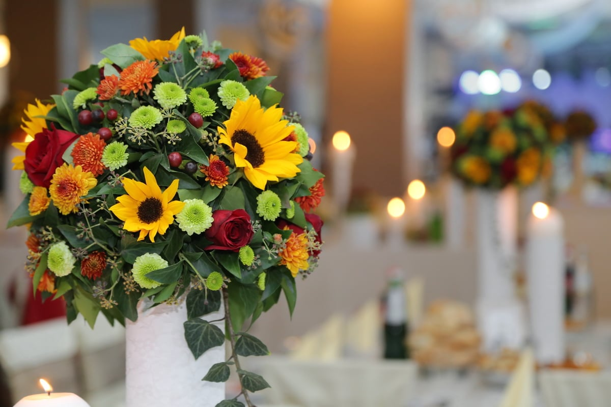 table, wedding bouquet, restaurant, interior design, nature, leaf, outdoors, flower, romance, love