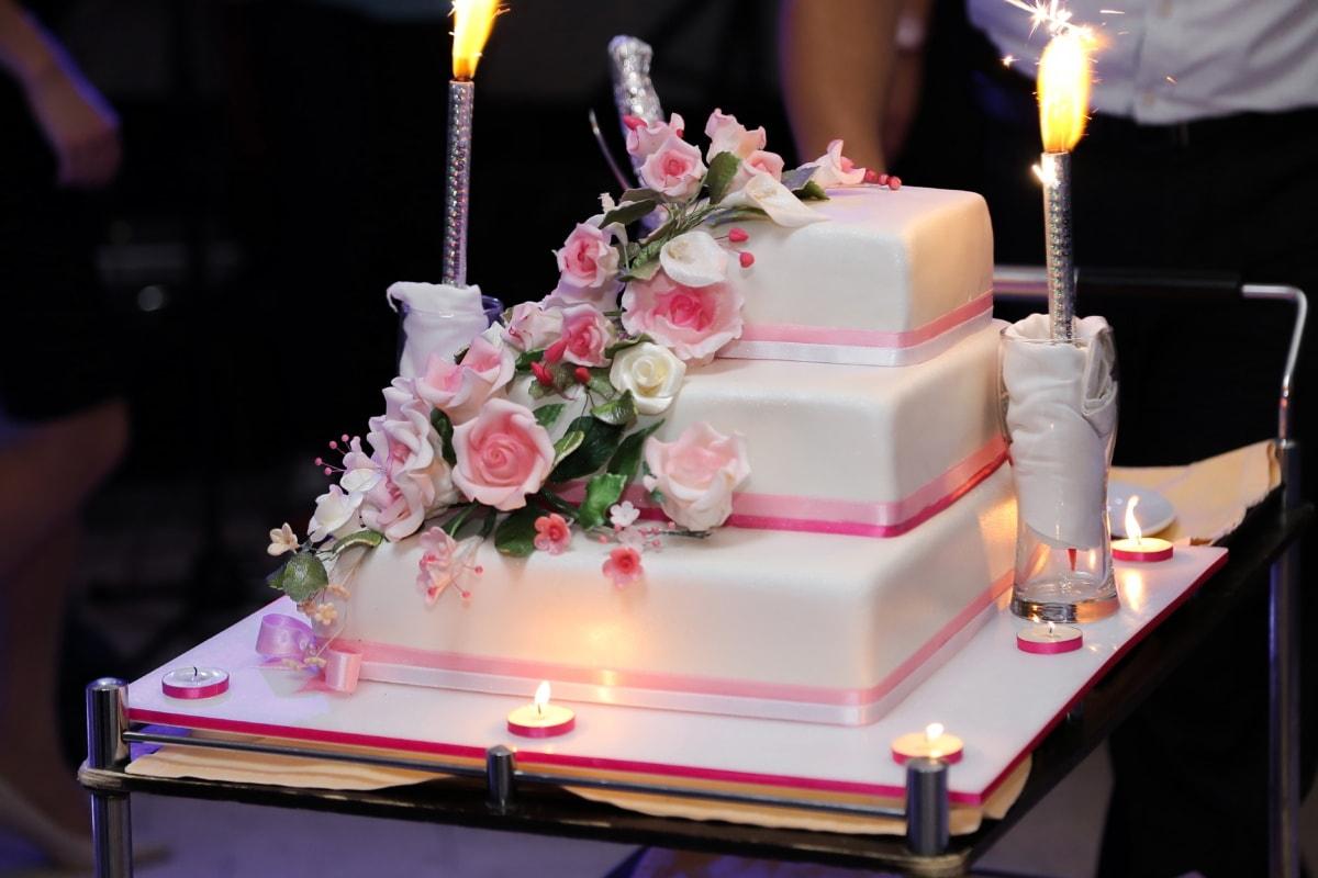 salle de mariage, gâteau de mariage, bougies, chandelier, barman, aux chandelles, bougie, mariage, romance, flamme