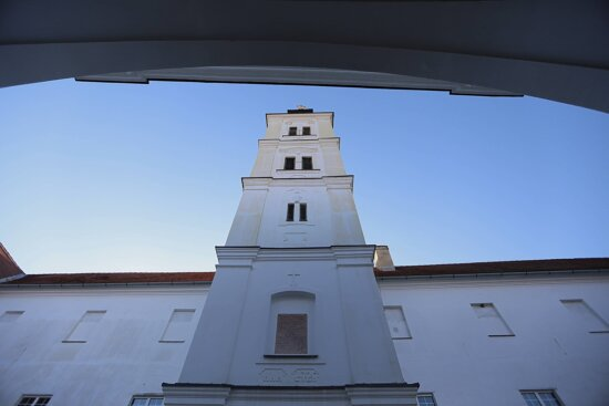 tall, church tower, church, perspective, monastery, Serbia, orthodox, architecture, cross, window