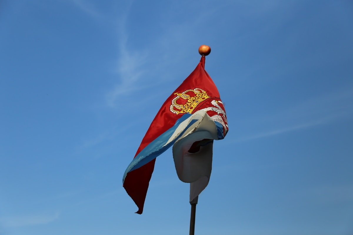 Serbia, flag, emblem, symbol, crown, tricolor, patriotism, wind, blue sky, pride