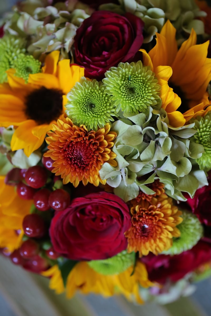 Dekoration, Anordnung, Blumenstrauß, Blume, Blumen, gelb, Anlage, Blüte, blühen, Geschenk
