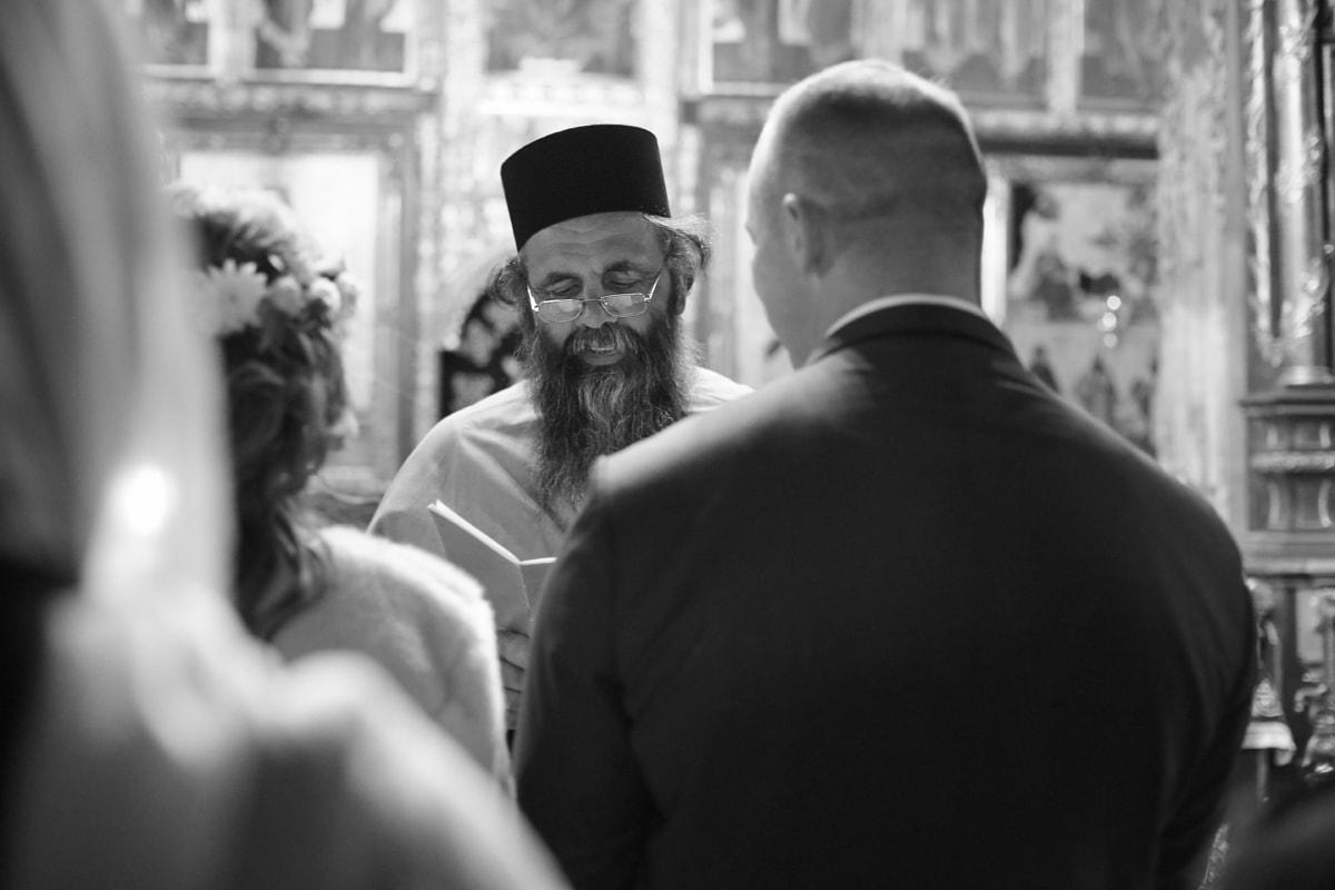 orthodoxe, prêtre, cérémonie, la mariée, mariage, jeune marié, monochrome, gens, homme, Portrait