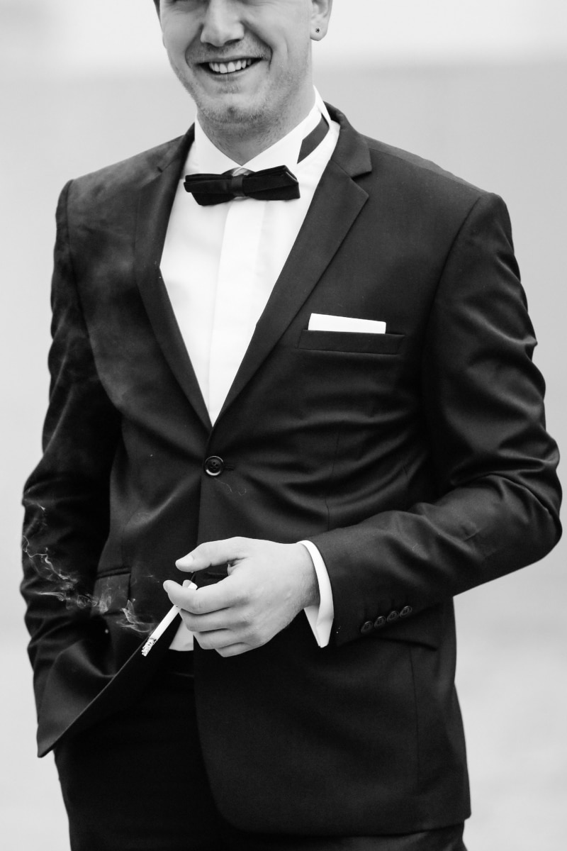 cigarette, smoke, tuxedo suit, man, bowtie, businessman, gentleman, corporate, clothing, jacket