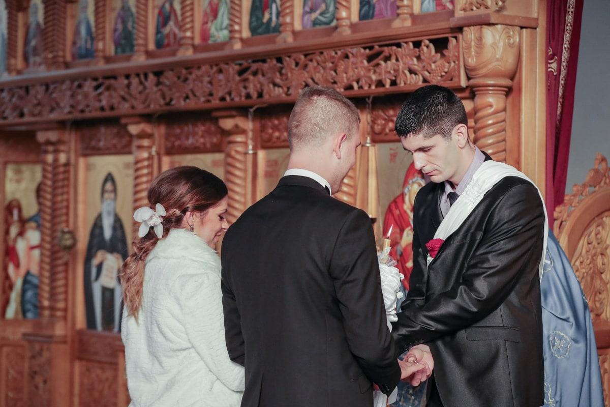 parrain, partenariat, amis, amitié, jeune marié, la mariée, Église, mariage, gens, homme
