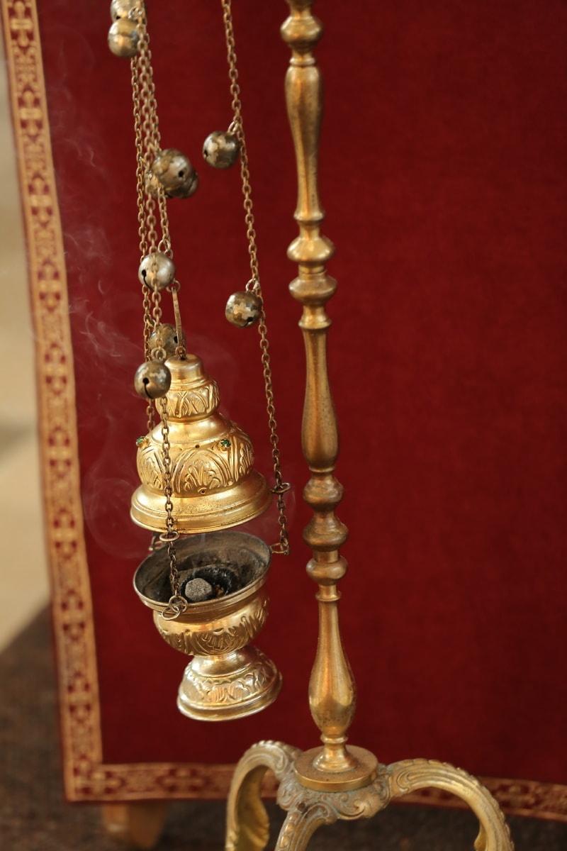 spiritualité, fumée, religion, chaîne, religieux, lueur dorée, objet, fait main, cuivre, antique