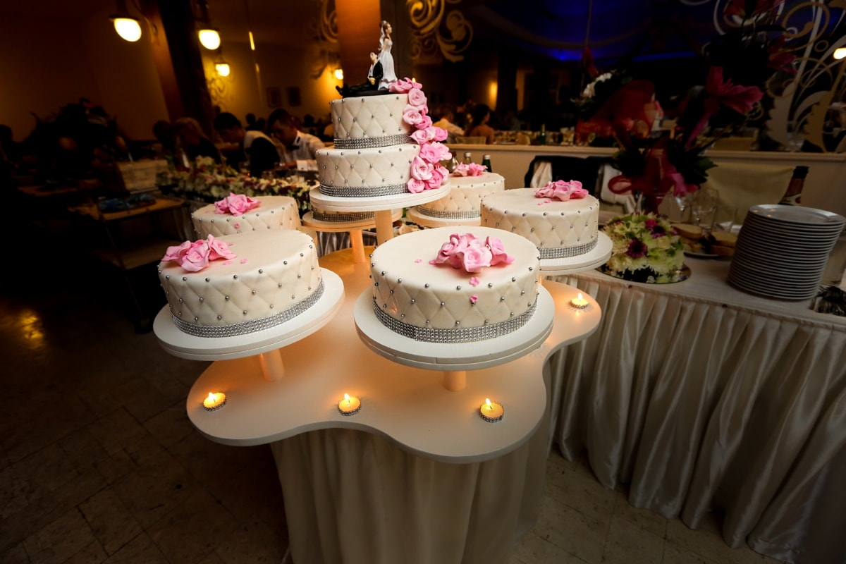 gâteau de mariage, cérémonie, restaurant, gâteau, bougie, mariage, chocolat, célébration, Noël, Design d'intérieur