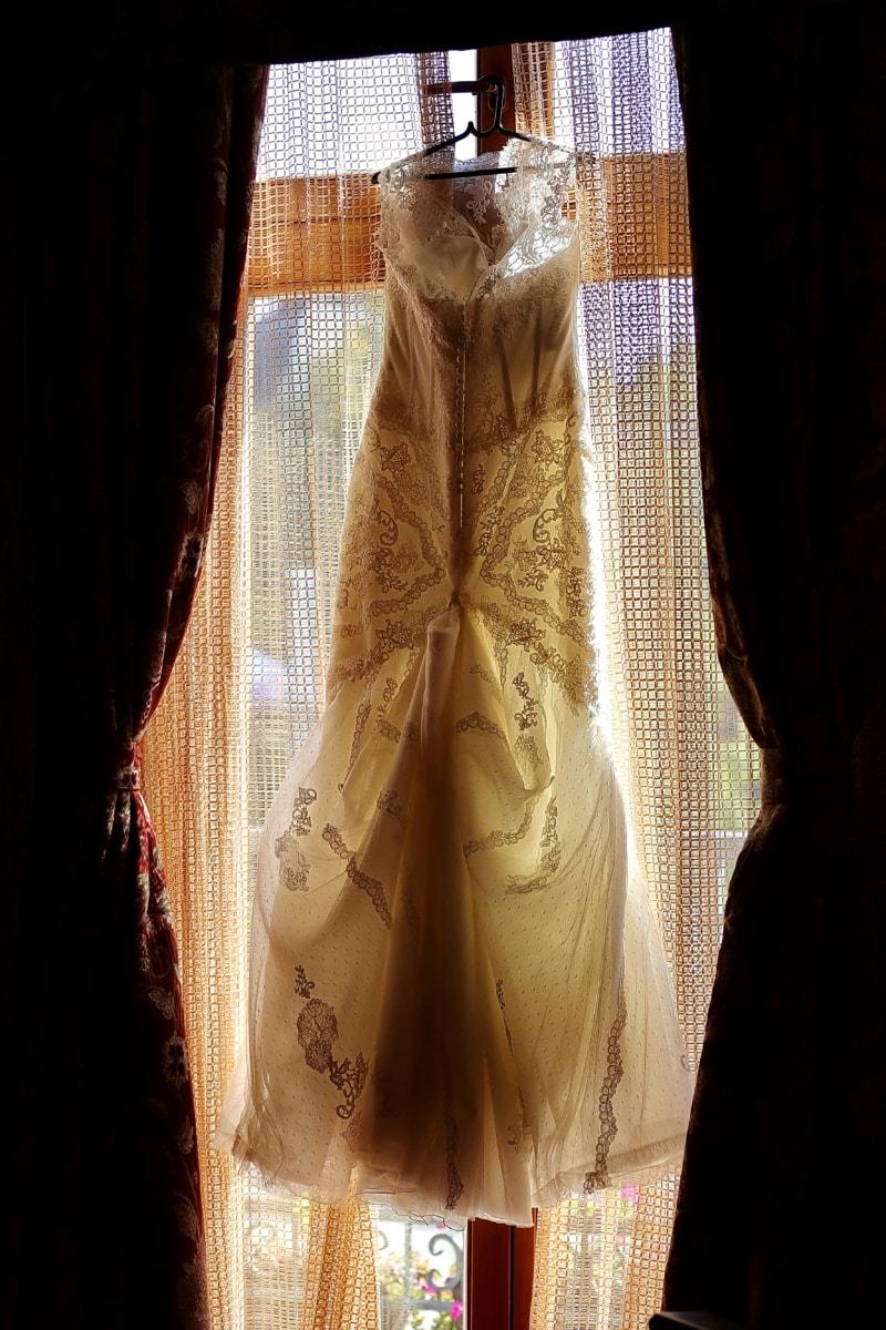 handmade, wedding dress, dress, hanging, window, old style, silk, outfit, fashion, craft