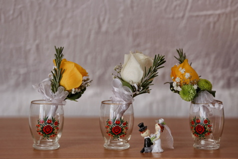 фигурка, керамика, младоженец, булката, миниатюрни, ваза, контейнер, цветя, букет, стъкло
