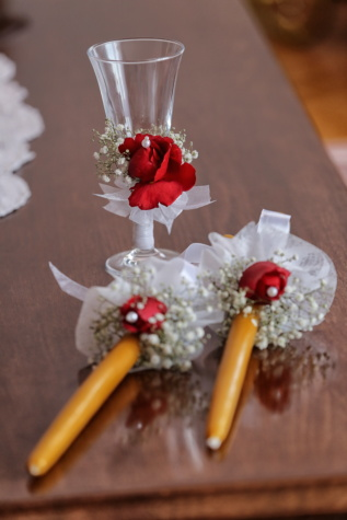 glass, candlestick, candles, decorative, romantic, bouquet, wedding, flower, rose, flowers