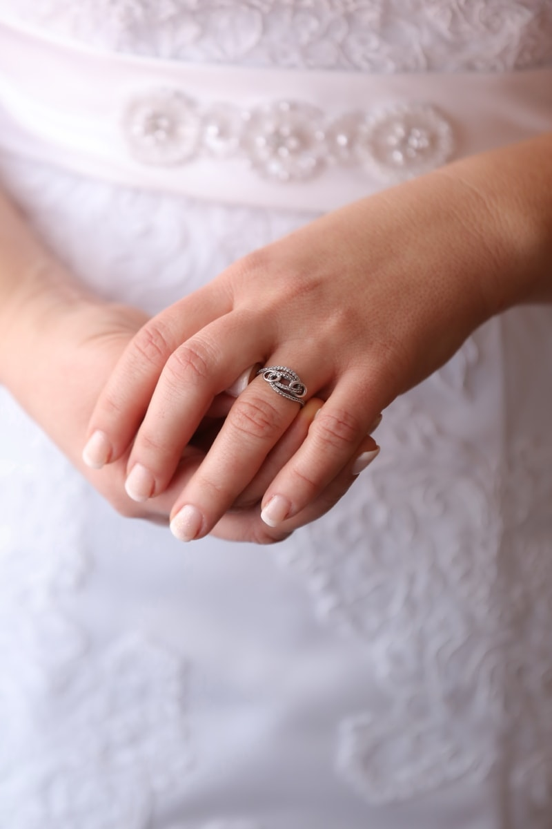 wedding ring, diamond, silver, finger, wedding dress, dress, arms, skin, body, wedding