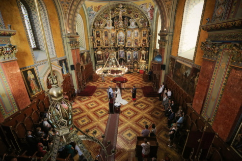 ortodokse, russisk, kirke, bryllup, bryllupsarena, katedralen, religiøse, struktur, arkitektur, alteret