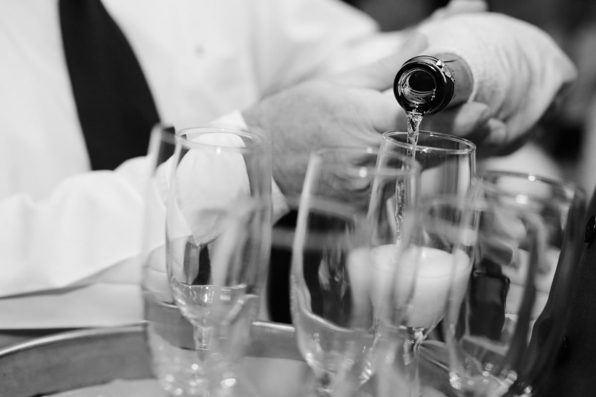 white wine, champagne, barter, glass, crystal, bottle, celebration, wedding, alcohol, monochrome