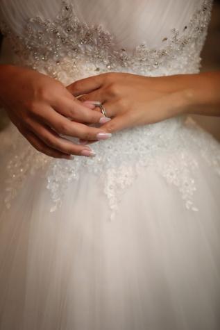 trouwring, trouwjurk, elegantie, wapens, bruid, manicure, bruidegom, bruiloft, vrouw, betrokkenheid