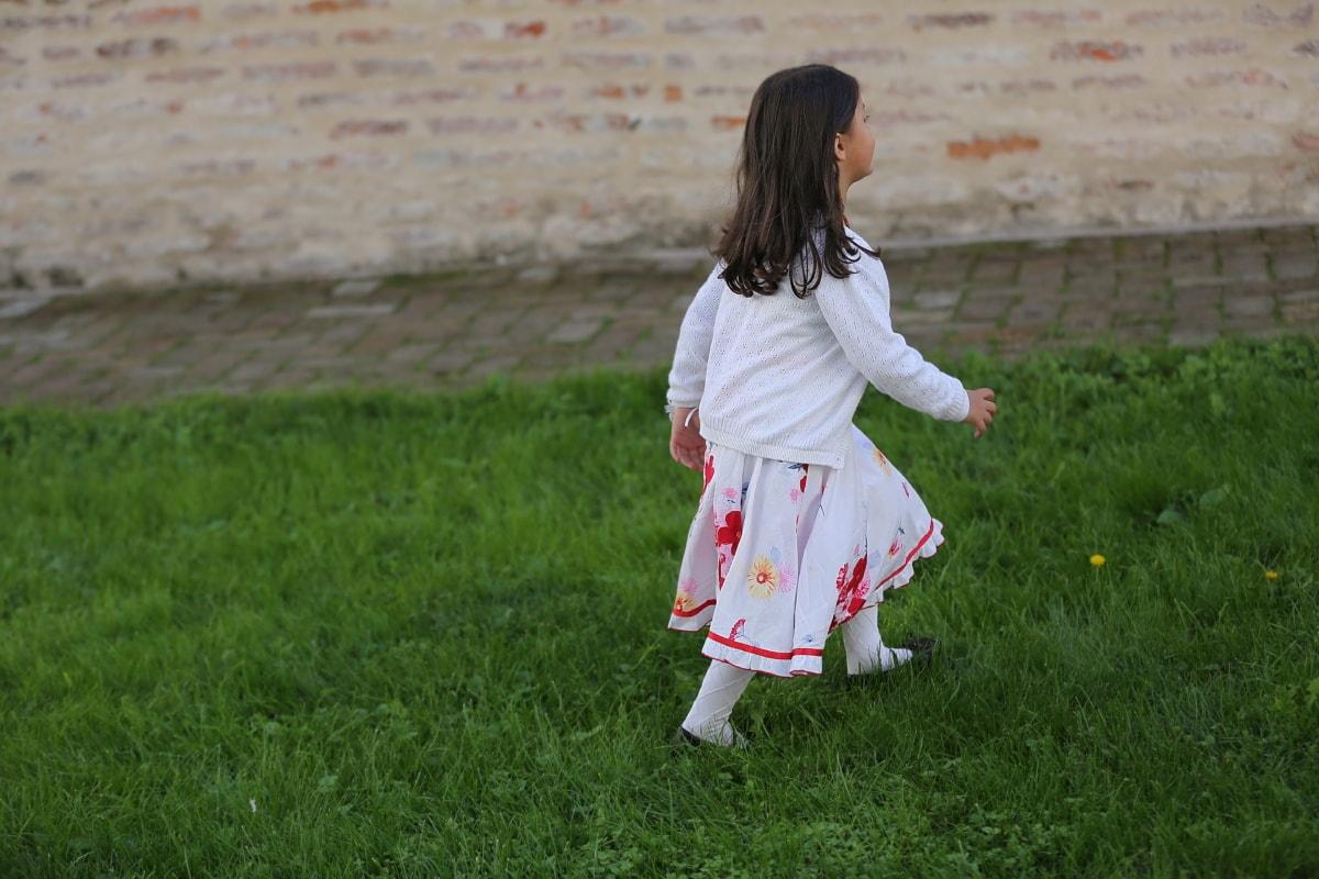 child, walking, grassy, leisure, dress, pretty girl, girl, grass, summer, people