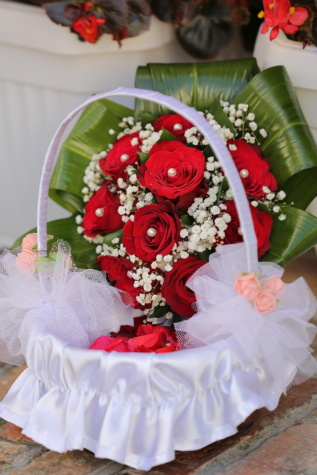 basket, wedding dress, rose, wedding, decoration, bride, arrangement, bouquet, flowers, love