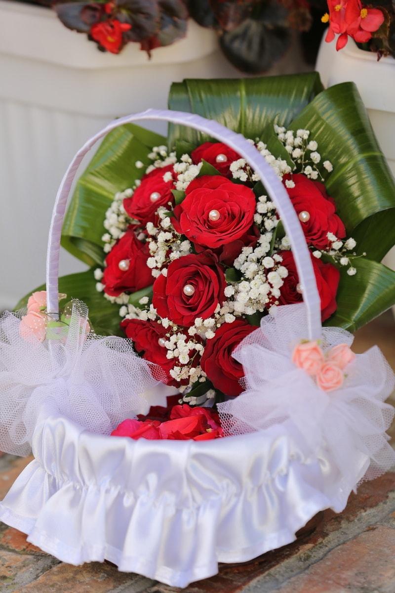 panier, robe de mariée, Rose, mariage, décoration, la mariée, arrangement, bouquet, fleurs, amour