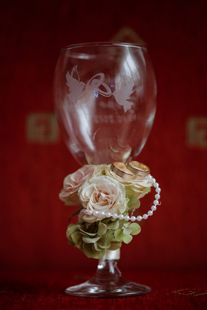 wedding ring, gold, crystal, glass, container, goblet, cup, celebration, decoration, flower