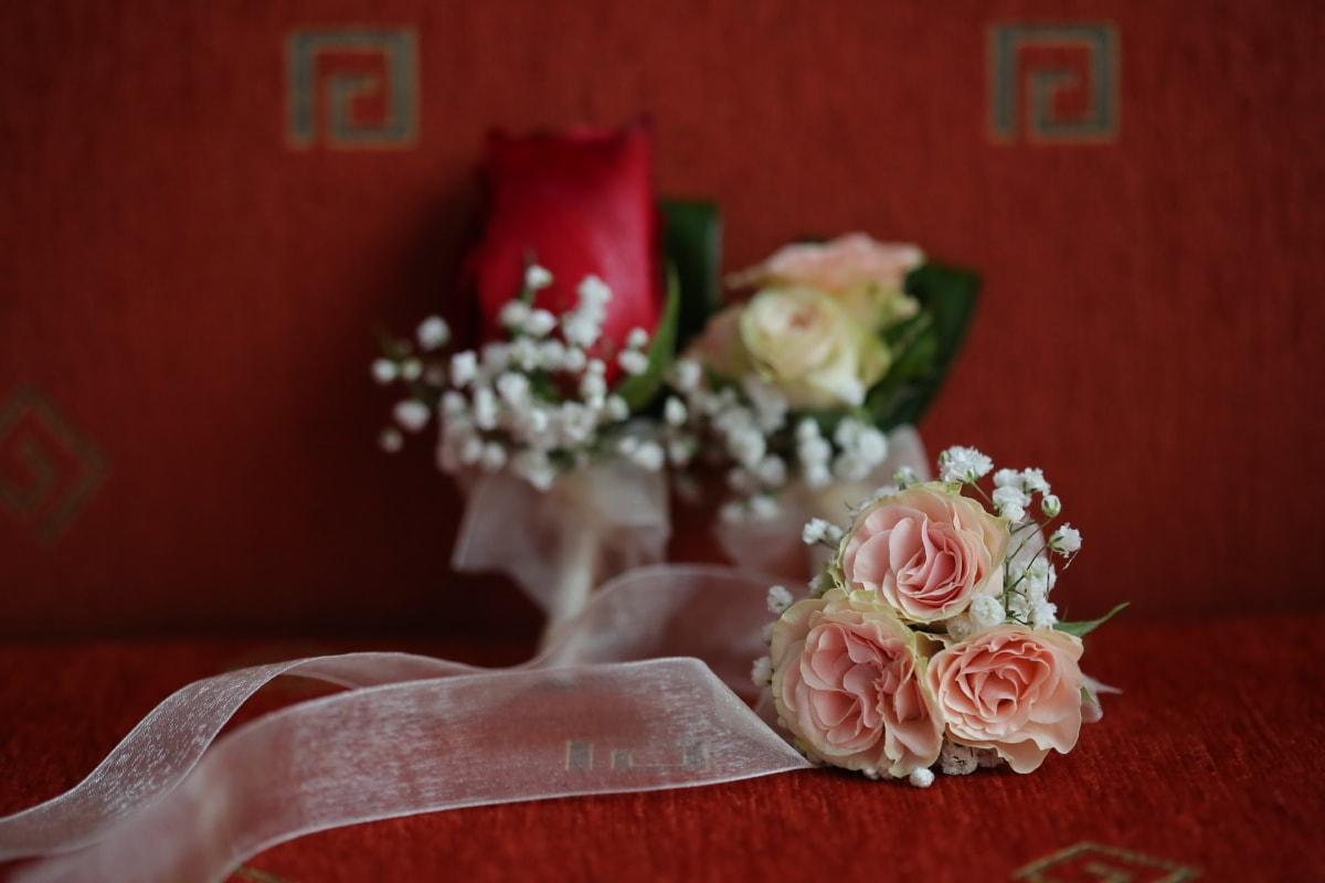 Hochzeitsstrauß, Sofa, Couch, Seide, Hochzeit, Rosen, stieg, Dekoration, Braut, Blume