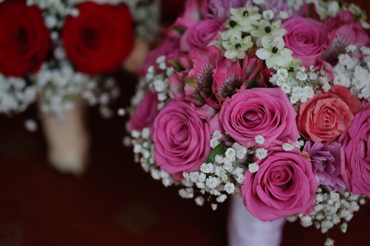 bouquet de mariage, fermer, pastel, des roses, romance, décoration, Rose, arrangement, fleur, mariage