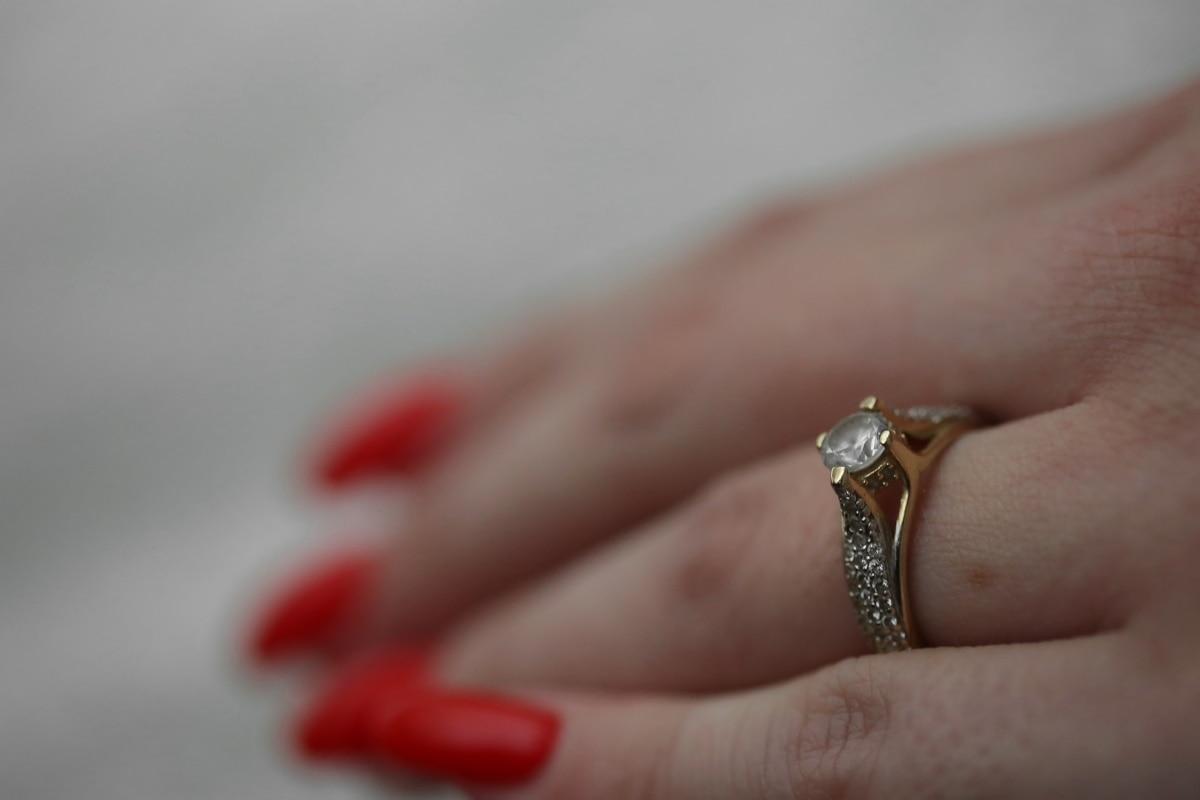 环, 辉煌, 婚戒, 珠宝, 手指, 黄金, 人, 女人, 手, 婚礼